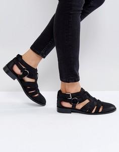 Кожаные туфли на плоской подошве ASOS MUMBAI - Черный
