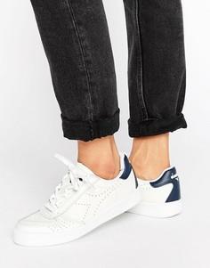 Белые тисненые кроссовки-премиум с темно-синей отделкой Diadora B. Elite - Белый