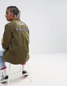 Рубашка навыпуск с принтом на спине ASOS X LOT STOCK & BARREL - Зеленый
