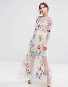 Платье макси с вышивкой и завязкой на талии Frock And Frill - Белый