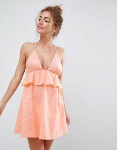 Пляжный сарафан-халтер с рюшами ASOS - Оранжевый