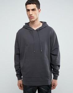 Oversize-худи удлиненного кроя выбеленного черного цвета ASOS - Черный