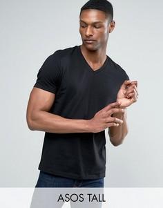 Черная футболка с V-образным вырезом ASOS TALL - Черный