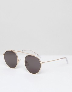 Круглые солнцезащитные очки-авиаторы в золотистой оправе Monokel - Золотой