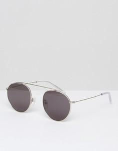 Серебристые солнцезащитные очки-авиаторы в круглой оправе Monokel - Серебряный