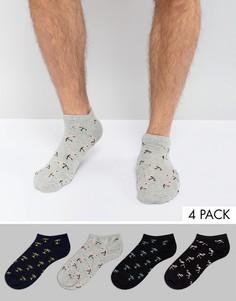 4 пары спортивных носков с фламинго и пальмами Jack & Jones - Мульти