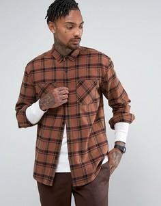 Свободная коричневая рубашка в клетку ASOS - Коричневый