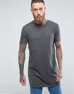 Супердлинная свободная футболка ASOS - Серый