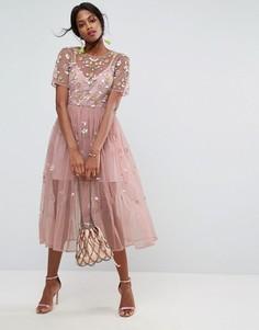 Свободное платье миди с декоративной отделкой ASOS - Бежевый