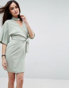 Платье мини с запахом и чокером ASOS - Зеленый