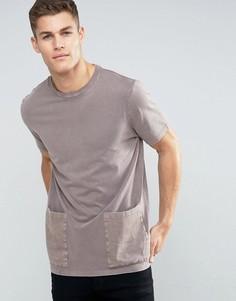 Выбеленная длинная футболка с накладными карманами ASOS - Коричневый