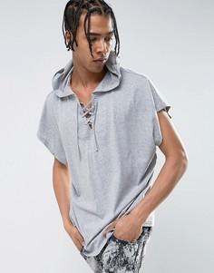 Серая меланжевая oversize-футболка без рукавов с капюшоном и шнуровкой ASOS - Серый
