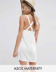 Пляжное трикотажное платье мини с перекрестными бретельками ASOS Maternity - Белый
