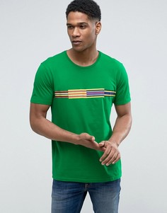 Футболка с полосой на груди United Colors of Benetton - Зеленый