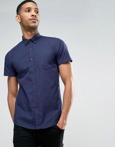 Узкая рубашка с короткими рукавами United Colors of Benetton - Темно-синий