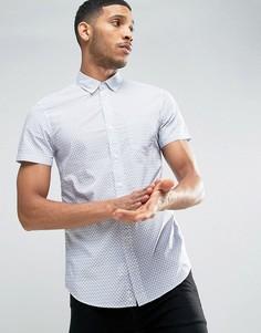 Узкая рубашка с короткими рукавами и принтом United Colors of Benetton - Белый