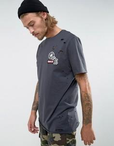 Черная выбеленная удлиненная футболка с нашивками и рваной отделкой ASOS - Серый