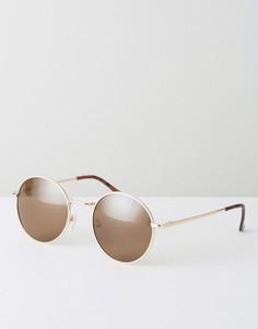 Круглые солнцезащитные очки в стиле 90-х в металлической оправе ASOS - Золотой