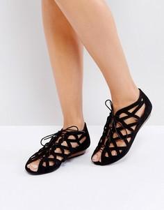 Кожаные сандалии с вырезами Office - Черный