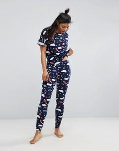 Пижамный комплект с футболкой и леггинсами ASOS - Мульти