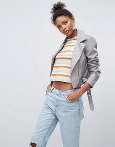 Байкерская куртка из кожзаменителя New Look - Серый