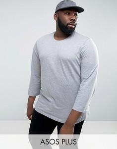 Серая футболка с рукавами 3/4 ASOS PLUS - Серый