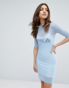Двухслойное сетчатое платье мини Fila - Синий