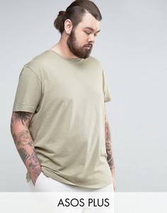 Длинная футболка с круглым вырезом ASOS PLUS - Бежевый