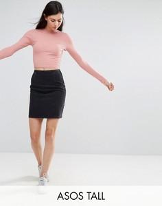 Выбеленная черная джинсовая мини-юбка ASOS TALL - Черный