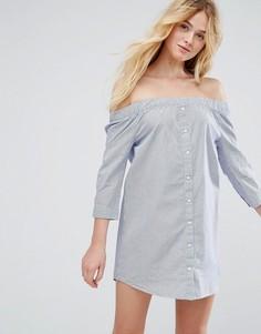Платье-рубашка на пуговицах с открытыми плечами J.D.Y - Синий JDY