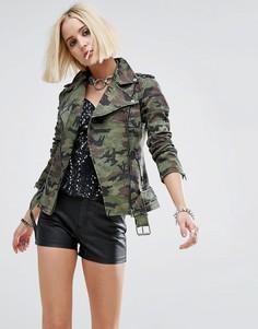 Мотоциклетная куртка с камуфляжным принтом Tripp NYC - Зеленый