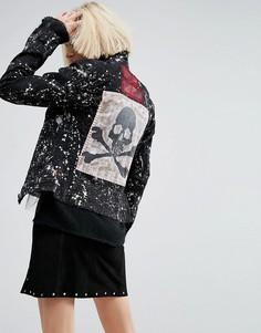 Джинсовая куртка с выбеленным эффектом и нашивками TRIPP NYC - Черный