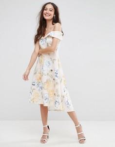 Приталенное платье миди с открытыми плечами и цветочным принтом ASOS - Мульти