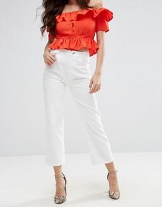 Укороченные расклешенные джинсы с завышенной талией Fashion Union - Белый