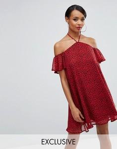 Свободное платье с леопардовым принтом Rare London - Красный