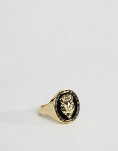 Кольцо с гравировкой головы льва ASOS - Золотой