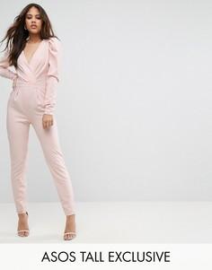 Комбинезон с запахом и декоративной отделкой рукавов ASOS TALL - Розовый