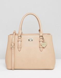Бежевая минималистская сумка-тоут с ремешком через плечо Marc B - Бежевый