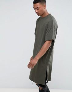 Длинная свободная футболка цвета хаки ASOS - Зеленый