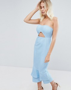 Кружевное платье миди PrettyLittleThing - Синий