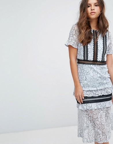 Кружевное платье миди с оборками на рукавах PrettyLittleThing - Синий