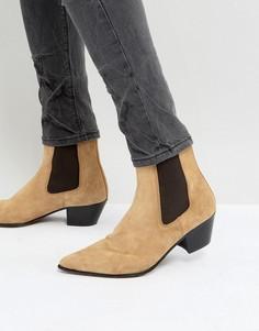 Бежевые замшевые ботинки челси с кубинским каблуком ASOS - Светло-серый