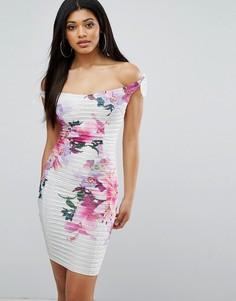 Платье-футляр с V-образным вырезом и принтом Lipsy - Мульти