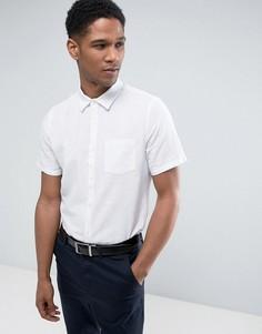 Льняная облегающая рубашка с короткими рукавами Burton Menswear - Белый