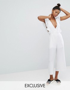 Комбинезон с юбкой-брюками и оборками Monki - Белый