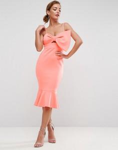 Платье миди с бантом и оборкой ASOS - Оранжевый