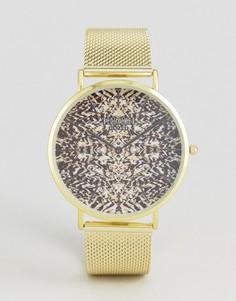 Золотистые часы с принтом и сетчатым ремешком Reclaimed Vintage Inspired - Золотой