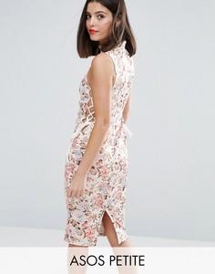 Платье миди с цветочным принтом и завязками по бокам ASOS PETITE - Мульти