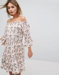 Платье с открытыми плечами Vila - Розовый