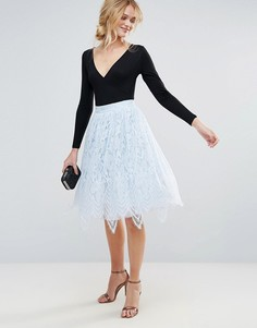 Кружевная юбка миди Chi Chi London - Синий